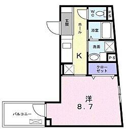 ビレッジアップ渋谷 2階1Kの間取り