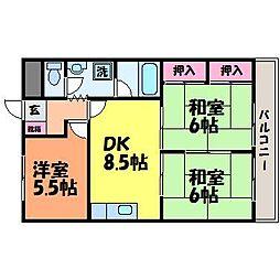 愛媛県松山市余戸中3丁目の賃貸マンションの間取り