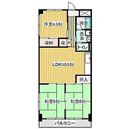 愛知県名古屋市中川区西中島2丁目の賃貸マンションの間取り