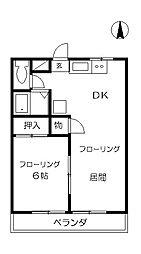 栃木県佐野市高萩町の賃貸アパートの間取り