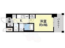 JR大阪環状線 今宮駅 徒歩6分の賃貸マンション 6階1Kの間取り