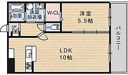 PS9長居 4階1LDKの間取り