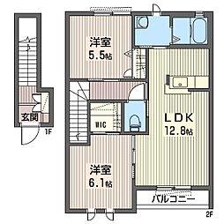 ディアコートB[2階]の間取り