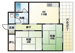 大阪府大阪市平野区平野東4丁目の賃貸マンションの間取り