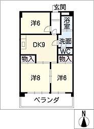 ロイヤルマンション丁田[2階]の間取り