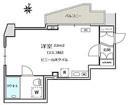フィールM西新宿 15階ワンルームの間取り