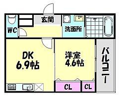 南海線 北助松駅 徒歩9分の賃貸アパート 2階1DKの間取り