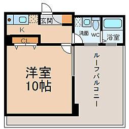 名鉄名古屋本線 神宮前駅 徒歩1分の賃貸マンション 8階1Kの間取り