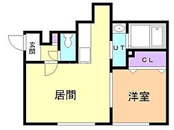 パストラーレSUHARA 2階1LDKの間取り