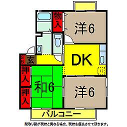 千葉県四街道市めいわ2丁目の賃貸アパートの間取り