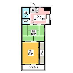 西村マンションB棟[1階]の間取り