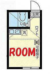 神奈川県横浜市鶴見区下末吉1丁目の賃貸アパートの間取り