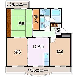 静岡県富士宮市淀師の賃貸マンションの間取り