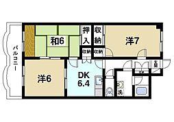 グラン・シャリオ二階堂 5階3DKの間取り