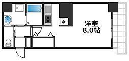 アヴェニール天神橋 8階ワンルームの間取り