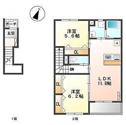 戸塚区舞岡町 ウィングコートA202号室[2階]の間取り
