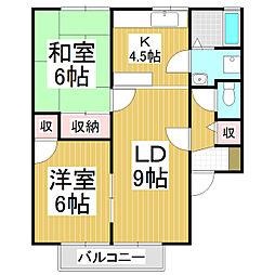 長野県松本市筑摩の賃貸アパートの間取り