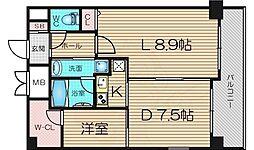 Osaka Metro長堀鶴見緑地線 京橋駅 徒歩10分の賃貸マンション 8階1LDKの間取り