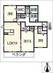 クレアーレ高峯 B棟[2階]の間取り