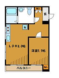 JR中央線 西国分寺駅 徒歩4分の賃貸マンション 2階1LDKの間取り