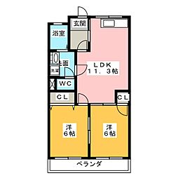 ムーンハイツA棟[2階]の間取り