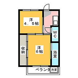 ビレッジハウス巣南 1号棟[2階]の間取り