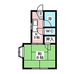 カレッジシバタ[1階]の間取り