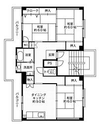 ビレッジハウス大島2号棟5階Fの間取り画像