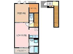 三重県松阪市泉町の賃貸アパートの間取り