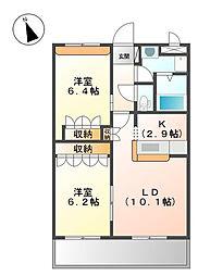 兵庫県姫路市飾磨区中島1丁目の賃貸マンションの間取り