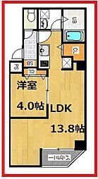 金太郎ヒルズ243松が谷 2階1LDKの間取り