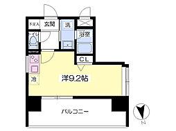 レジデンス箱崎 7階ワンルームの間取り