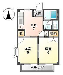 愛知県津島市神守町字中町の賃貸アパートの間取り