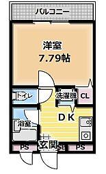 TAIHOレジデンス大日III 3階1DKの間取り