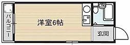 Osaka Metro谷町線 大日駅 徒歩8分の賃貸マンション 4階ワンルームの間取り