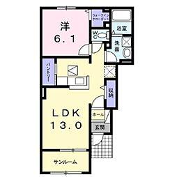 JR小海線 東小諸駅 徒歩12分の賃貸アパート 1階1LDKの間取り