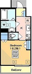 東急目黒線 武蔵小山駅 徒歩6分の賃貸マンション 2階1Kの間取り