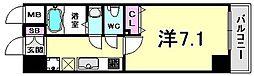 アドバンス三宮VIクレスト 8階1Kの間取り