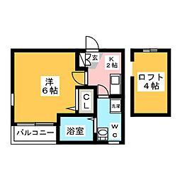 ラグタイム箱崎[1階]の間取り