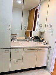 収納もたっぷりできるシャワー付き洗面化粧台。鏡も大きく朝の準備がしやすいですね。