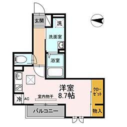仮)D-room新川崎 3階ワンルームの間取り