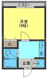 京阪本線 寝屋川市駅 徒歩6分の賃貸マンション 3階1Kの間取り