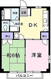 埼玉県春日部市下蛭田の賃貸アパートの間取り