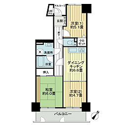 ライオンズマンション宇部錦町[4階]の間取り