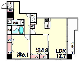 L・Isobe三宮[8階]の間取り