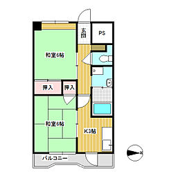 コーポヤマハネ 4階2Kの間取り