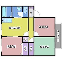 サンガーデン錦城[1階]の間取り