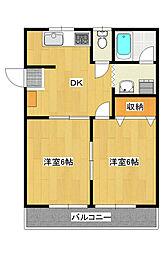 平出町 2DKアパート[2階]の間取り