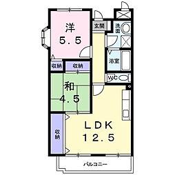 メゾンドエルGE 4階2LDKの間取り