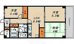 ネオコーポ大阪城公園2号棟 13階3DKの間取り
